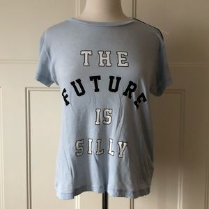 $78~WILDFOX~'The Future is Silly' Blue T-Shirt~S/M